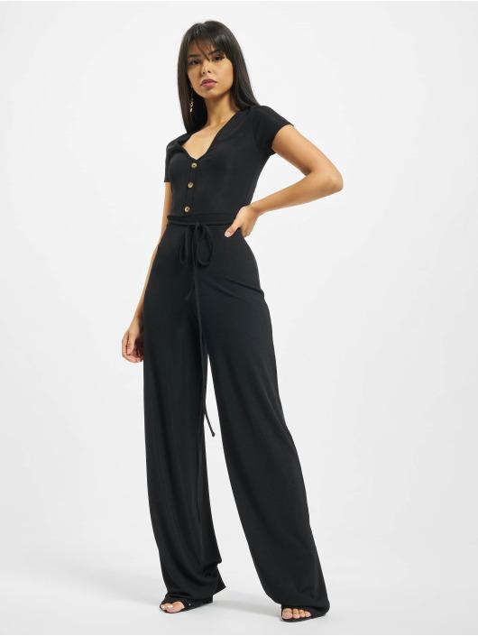 Missguided Jumpsuit Rib V Front Button schwarz