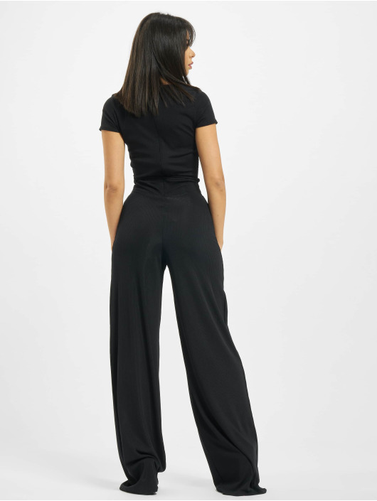 Missguided Jumpsuit Rib V Front Button schwarz
