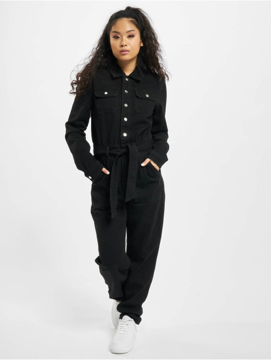 Missguided Jumpsuit Button Through Denim schwarz