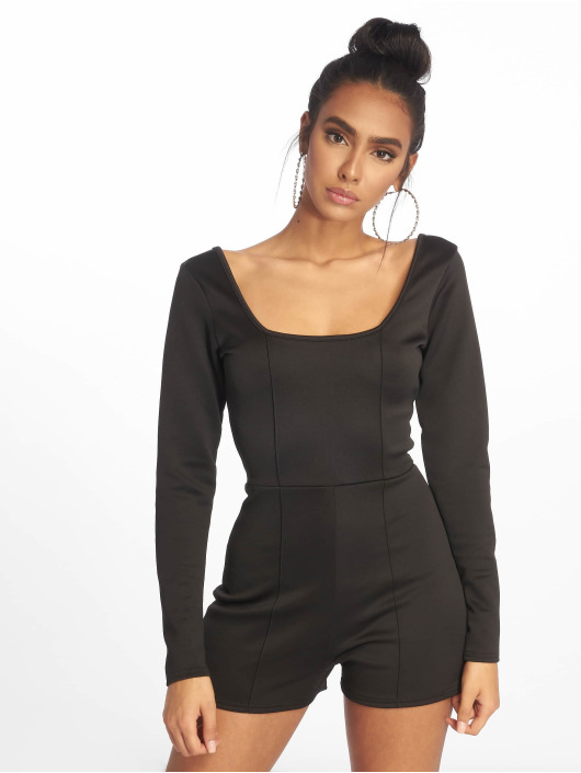 Missguided jumpsuit Pintuck Long Sleeve zwart