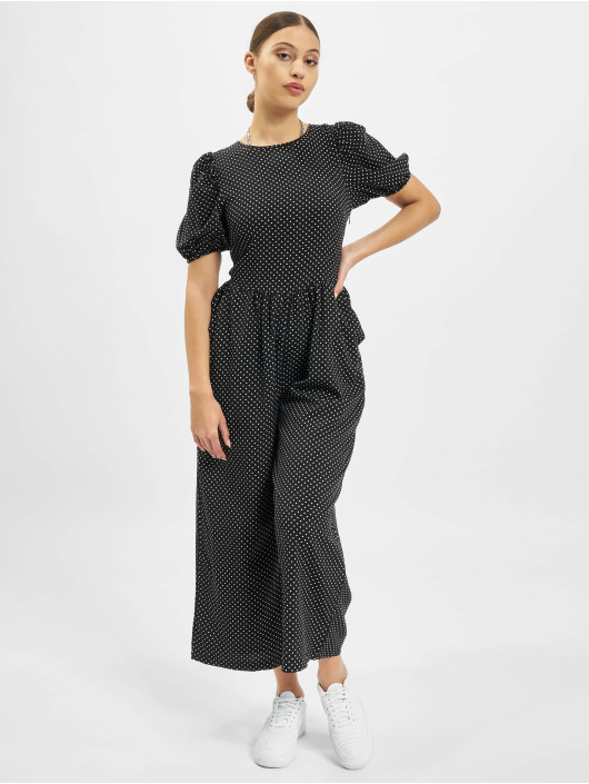 Missguided jumpsuit Polka Lace Up Puff Culotte zwart
