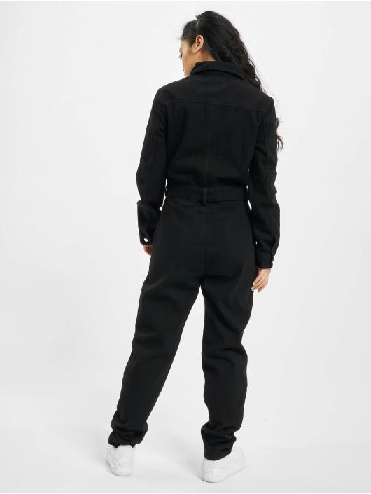 Missguided jumpsuit Button Through Denim zwart