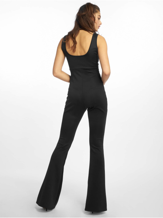 Missguided Jumpsuits Cut Out Square Neck Flare Leg čern