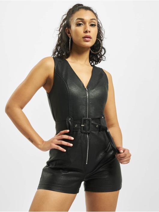 Missguided Jumpsuits PU Zip čern