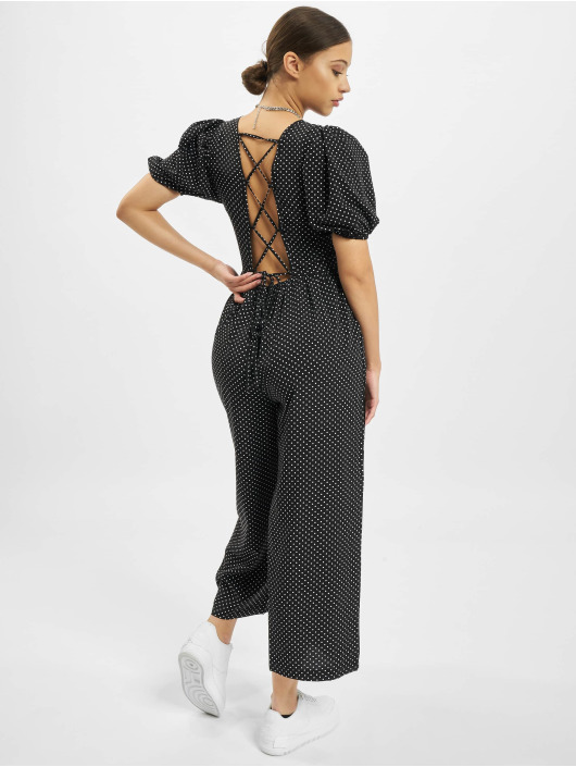 Missguided Jumpsuits Polka Lace Up Puff Culotte čern