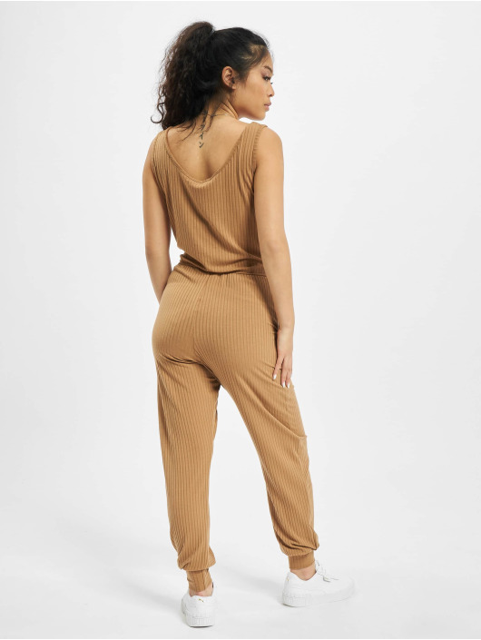Missguided Jumpsuits Sleeveless Tie Waist Rib Jogger beige