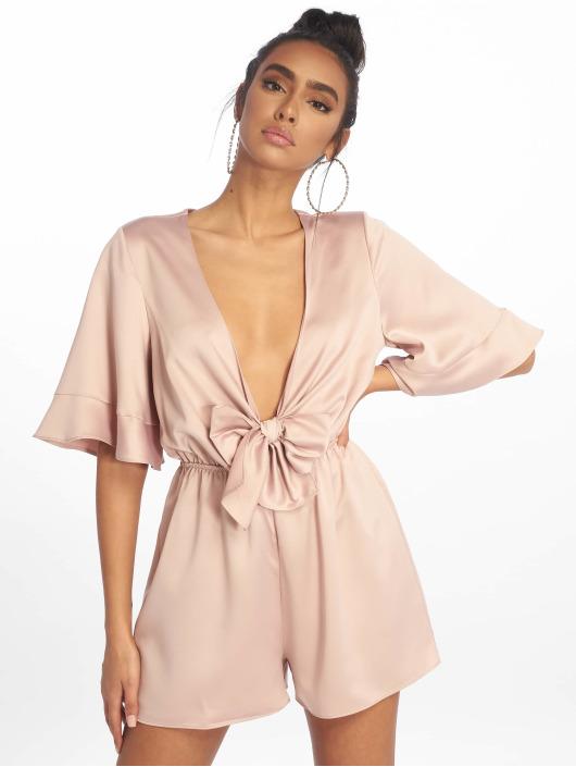 Missguided Jumpsuits Satin Kimono Sleeve bezowy