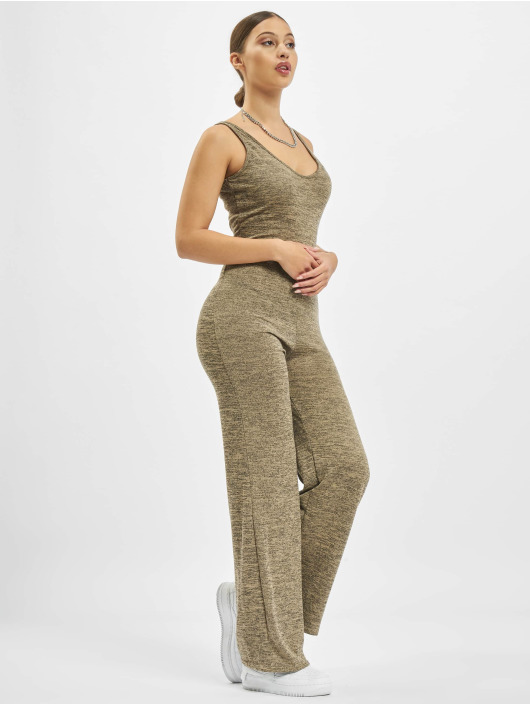 Missguided Jumpsuits Strappy Relaxed Flare Leg bezowy