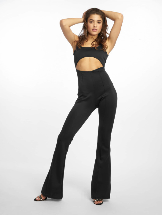 Missguided Jumpsuits Cut Out Square Neck Flare Leg black