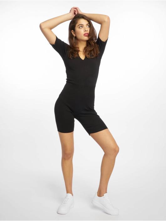 Missguided Jumpsuits Raw Edge Rib Short Sleeve Unitard black