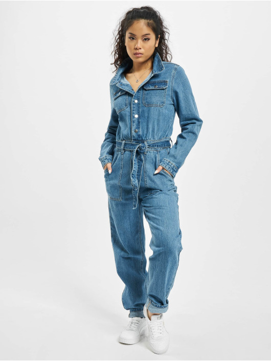 Missguided Jumpsuits Boiler Button Through Denim blue