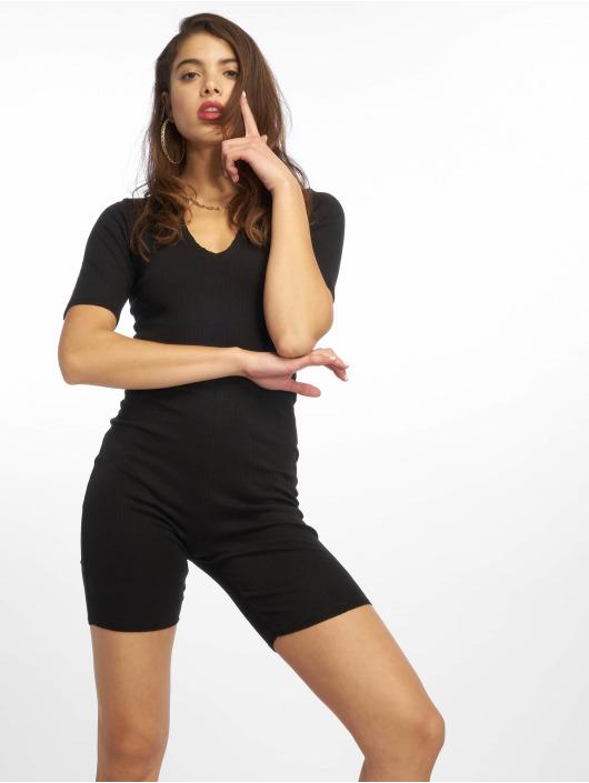 Missguided Jumpsuits Raw Edge Rib Short Sleeve Unitard czarny