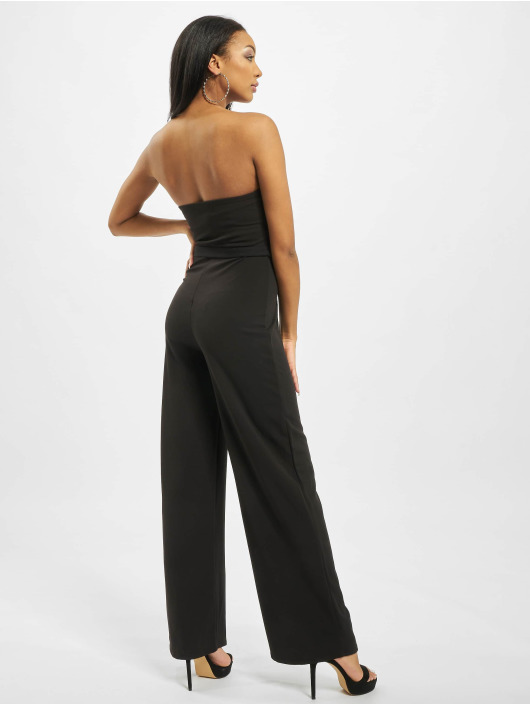 Missguided Jumpsuits Bandeau Self Buckle Wide Leg czarny