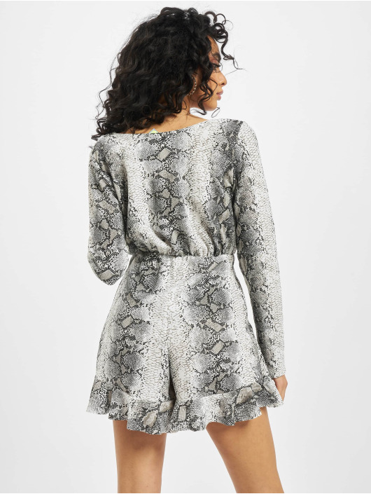 Missguided Jumpsuits Snake Print Frill Detail Play czarny