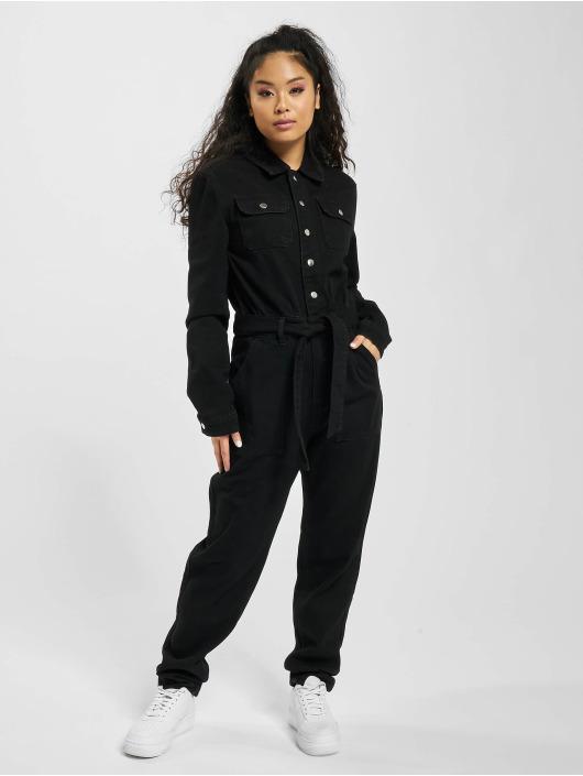 Missguided Jumpsuits Button Through Denim czarny