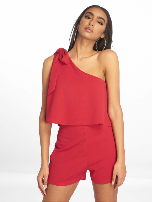 Missguided Jumpsuits One Shoulder Bow czerwony