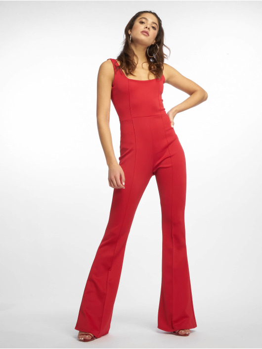 Missguided Jumpsuits Square Neck Pintuck Flare czerwony