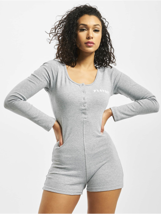 Missguided Jumpsuits Playboy Ribbed Longsleeve Button Front grå