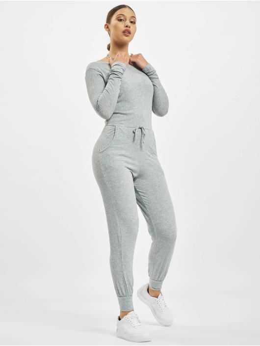 Missguided Jumpsuits Rib Long Sleeve Tie Waist grå
