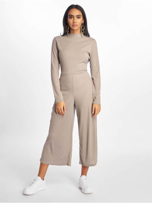 Missguided Jumpsuits High Neck Ls Rib grey