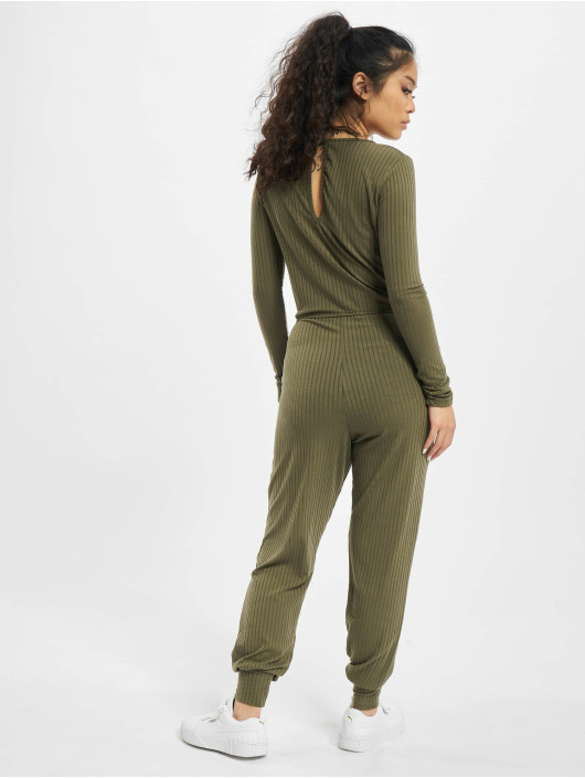 Missguided Jumpsuits Rib Long Sleeve Tie Waist hnědožlutý