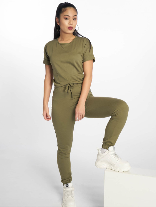 Missguided Jumpsuits Slouch Drawstring Short Sleeve khaki