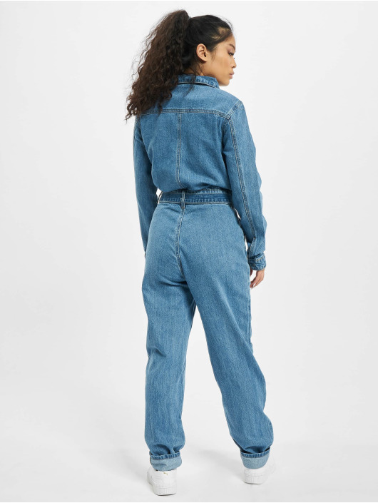 Missguided Jumpsuits Boiler Button Through Denim modrý
