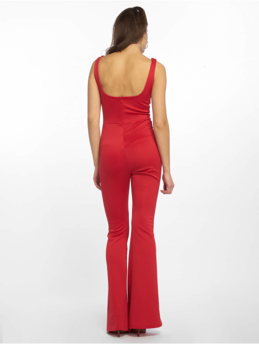 Missguided Jumpsuits Square Neck Pintuck Flare red