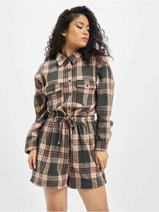 Missguided Jumpsuits Brushed Flannel LS Check rózowy