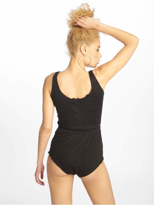 Missguided Jumpsuits Popper Front Rib Jersey svart