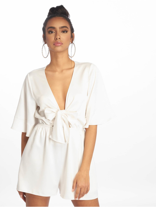 Missguided Jumpsuits Satin Kimono Sleeve white