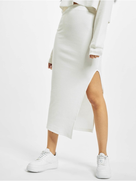 Missguided Jupe Ribbed Midi blanc