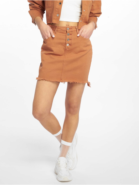 Missguided Jupe Exposed Button Step Hem Denim Mini brun