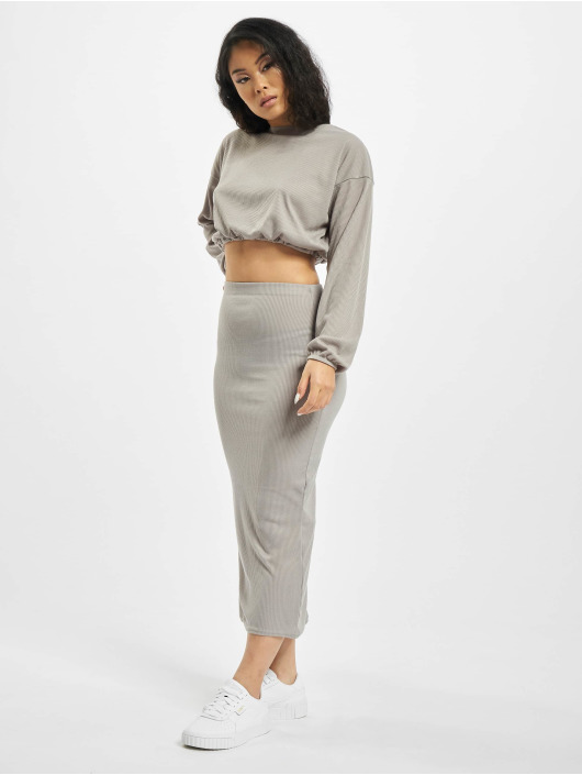 Missguided Jupe Coord Rib Crop gris