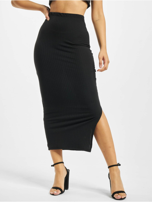 Missguided Jupe Coord Midi Ribbed noir