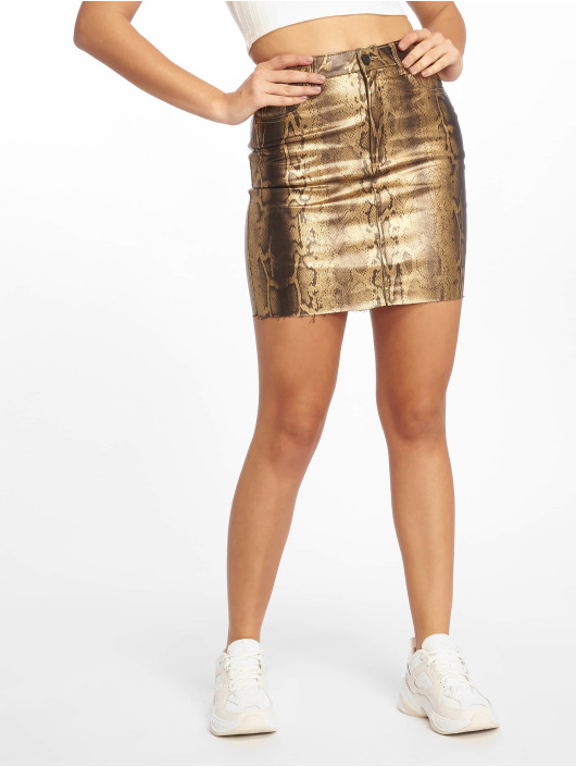 Missguided Jupe Metallic Snake Coated Denim or