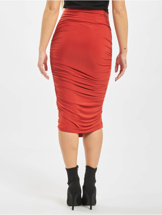 Missguided Jupe Petite Slinky Rouched Midi rouge