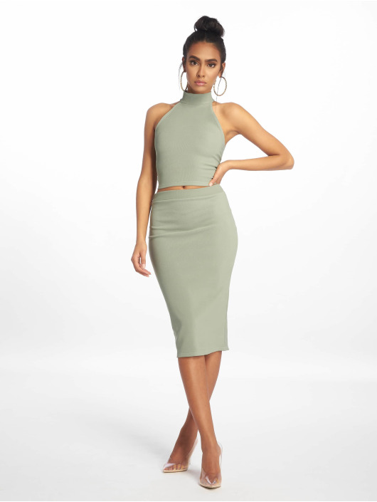 Missguided Jupe Ribbed Pencil vert
