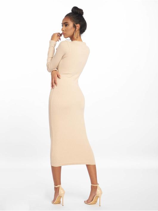 Missguided jurk Rib Ls Popper Midi beige
