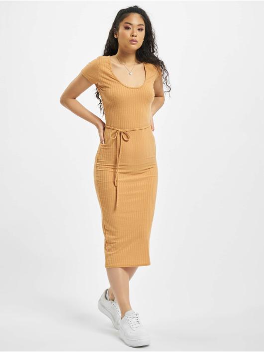 Missguided jurk Petite SS Tie Belt Rib Midi beige