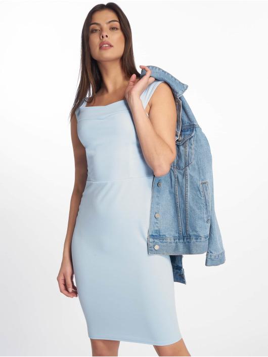 Missguided jurk Scuba Bardot Midi Bodycon blauw