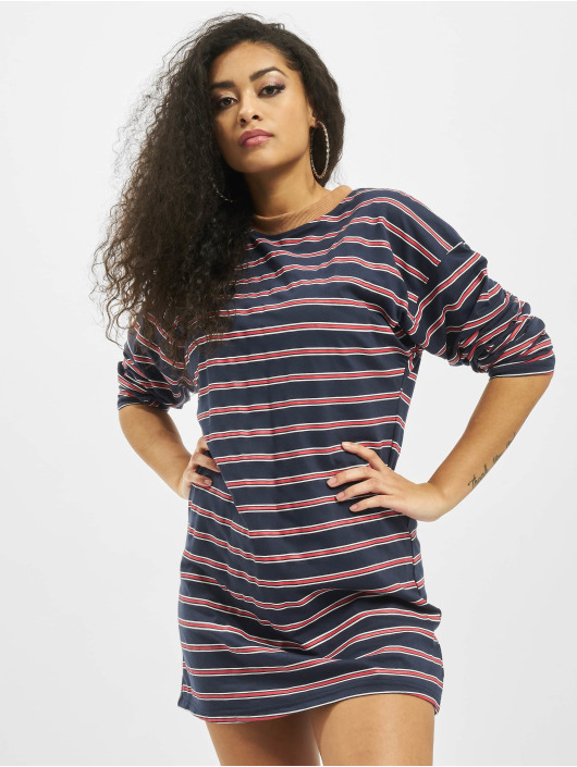 Missguided jurk Oversized Longsleeve T-Shirt Stripes blauw