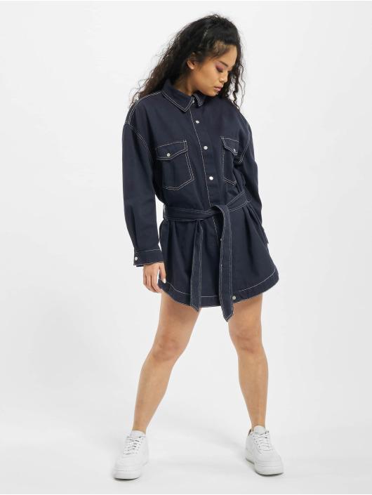 Missguided jurk Petite Oversized Denim Shirt blauw
