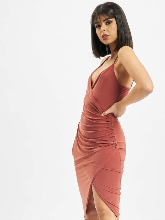 Missguided jurk Strappy Slinky Wrap Bodycon bruin