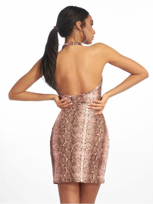 Missguided jurk Halterneck Cowl Wrap Hem Mini bruin