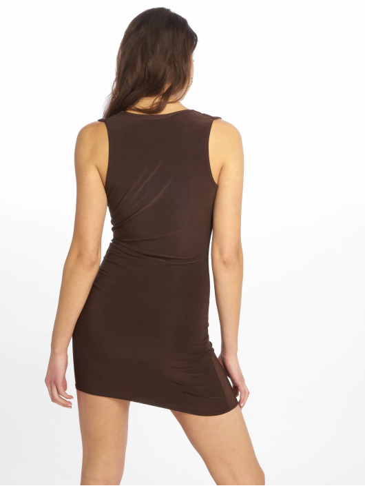Missguided jurk Double Layer Deep Cowl Mini bruin