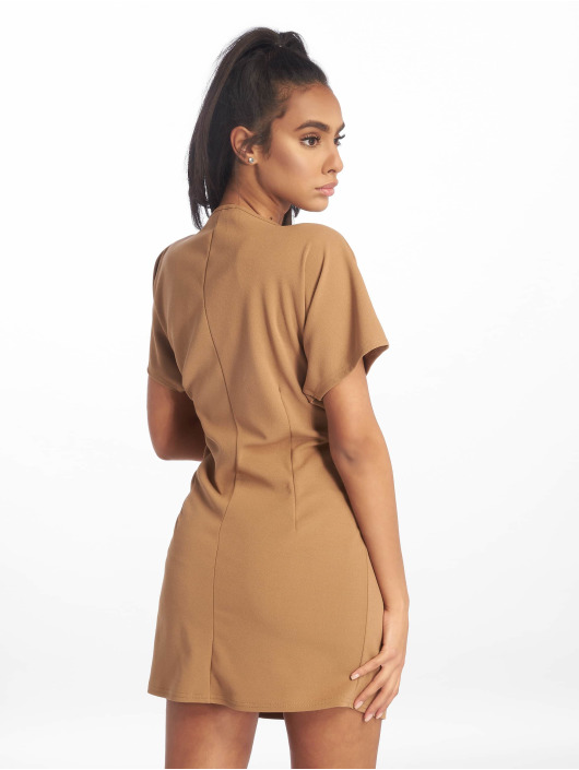 Missguided jurk Knot Front Shift bruin