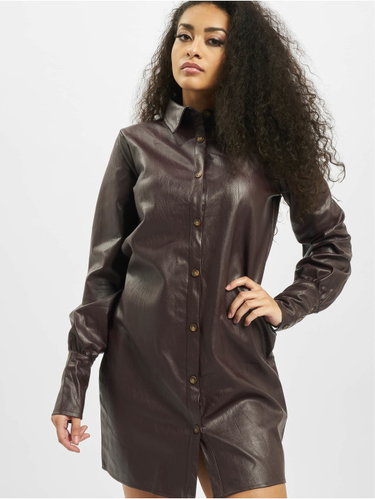 Missguided jurk Tall Faux Leather bruin