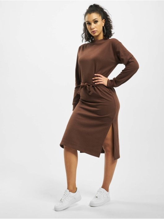 Missguided jurk Tie Belt Midi Sweater bruin