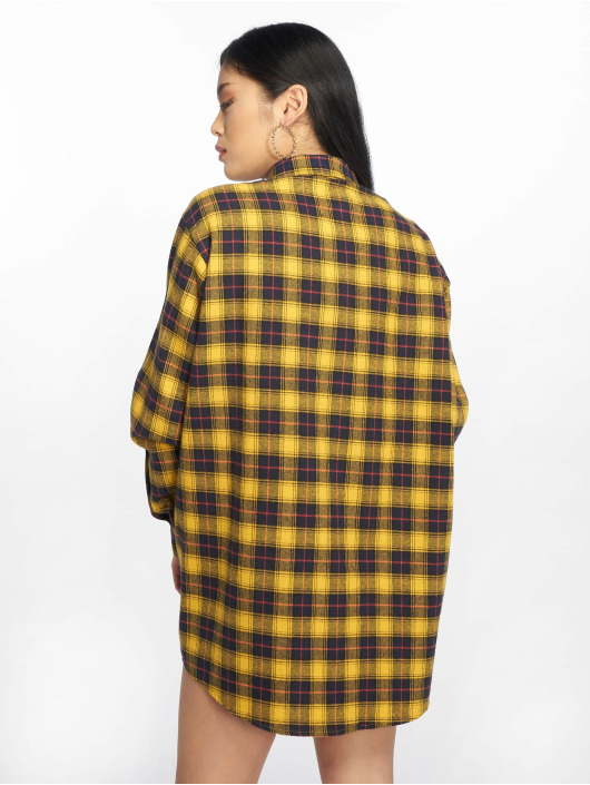 Missguided jurk Oversized Check geel